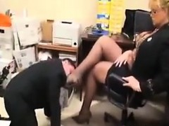 Worshipping This Blondes Feet In The Office