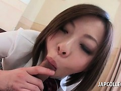 Kinky asian babe showing her blowjob great skills in POV