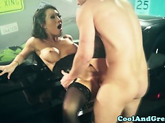 Sexy asian babe gets mouthful of cum