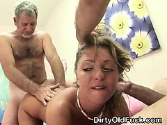 Two Old Men Take Turns Banging Blonde Teen In Threesome