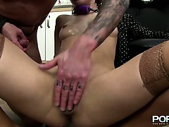 Redhead slut gets her tight pussy fist fucked