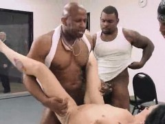 Black haired MILF gets gangbanged by three black dudes