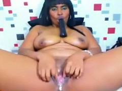 Fat Ebony Chick Playing With Her Pussy
