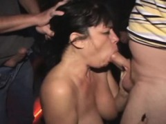 Real slut public theater gangbang